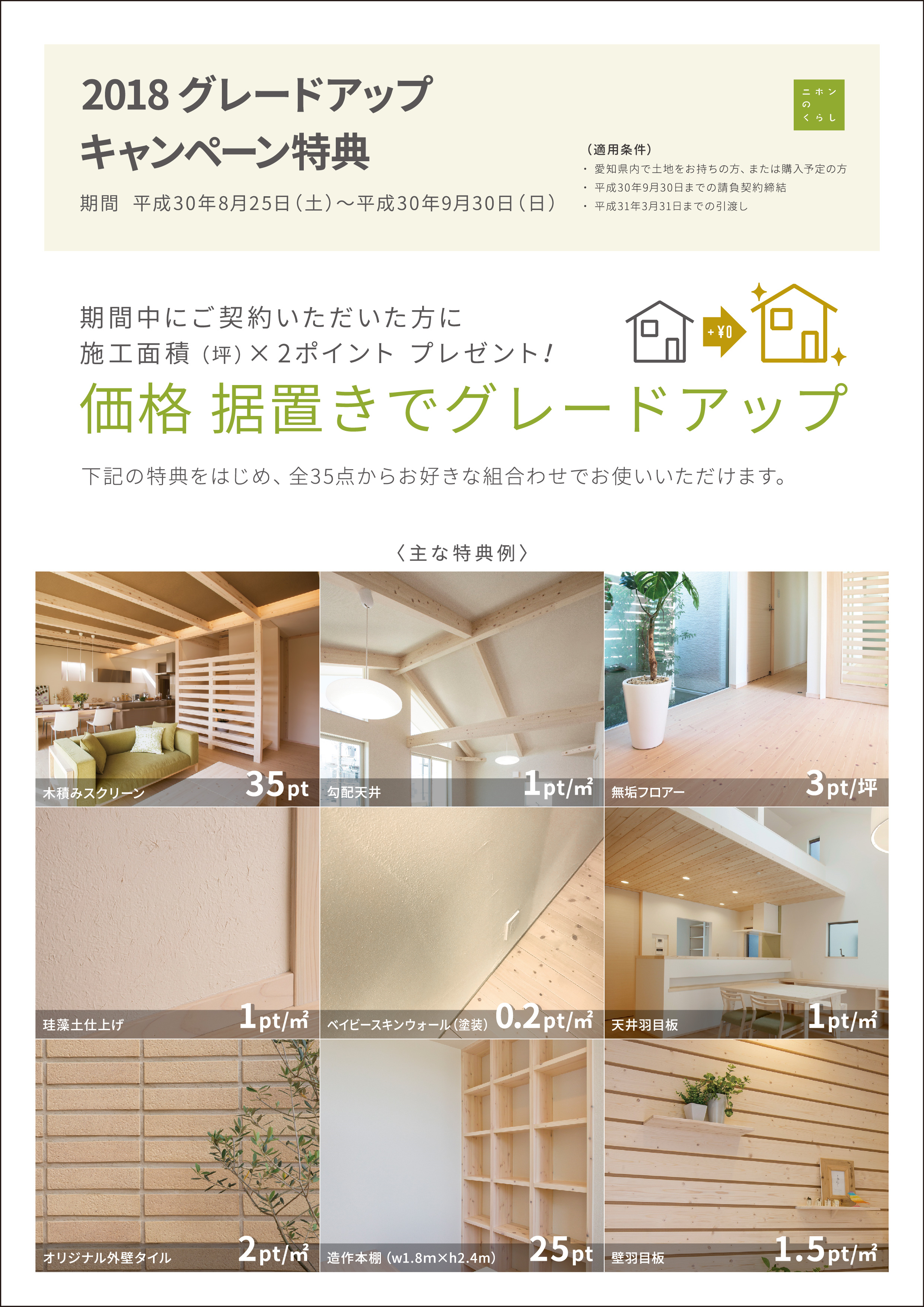 2018グレードアップキャンペーン開催~期間:8/25(土)~9/30(日)